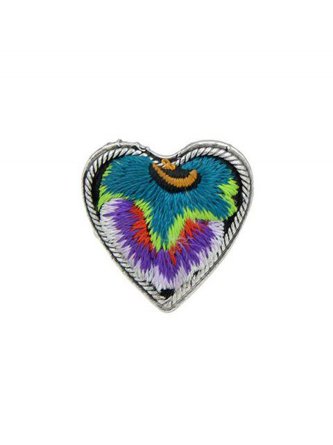 best Embroidery Love Heart Shape Ring - PURPLE ONE-SIZE Mobile
