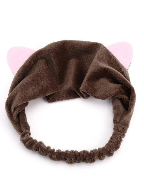 Cute Cat Ears Two Tone Elastic Hair Band - Marrón Oscuro  Mobile