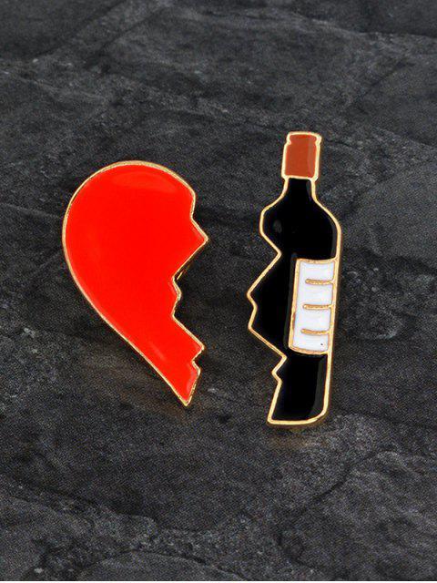 Ensemble de Broches en Forme de Cœur Brisé et Bouteille de Vin pour la Saint-Valentin - Multicolore  Mobile