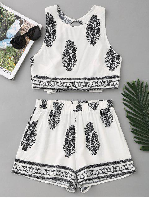unique Bow Tied Printed Open Back Top and Shorts Set - WHITE M Mobile