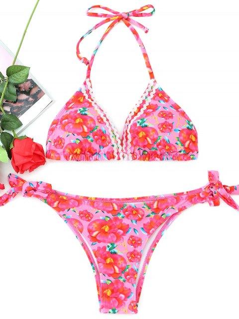 Gebundenes florales Neckholder-Bikini-Set - Blumen S Mobile