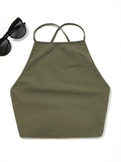 shop Open Back Lace Up Tank Top - ARMY GREEN ONE SIZE Mobile