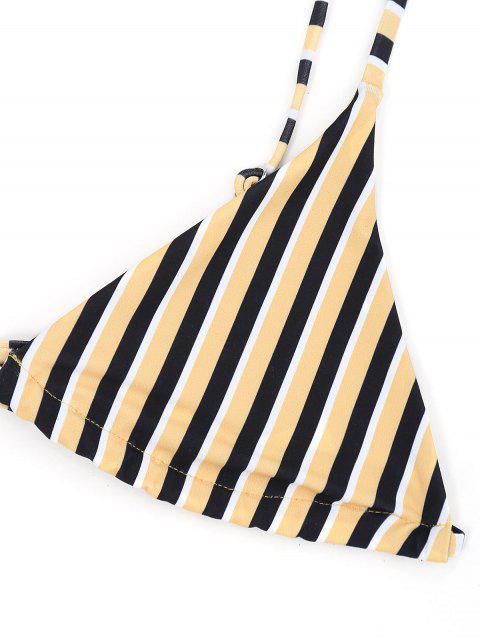 Soutien-Gorge Bikini Brassière avec Rayures et String - Jaune S Mobile