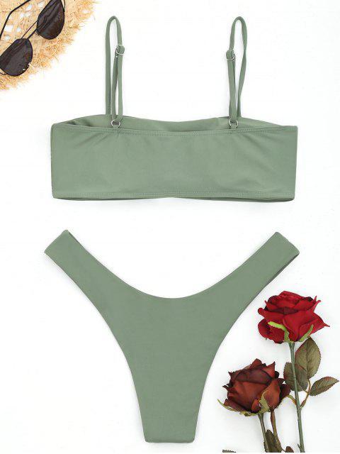 Bikini Cami de Corte Alto - Guisante Verde L Mobile