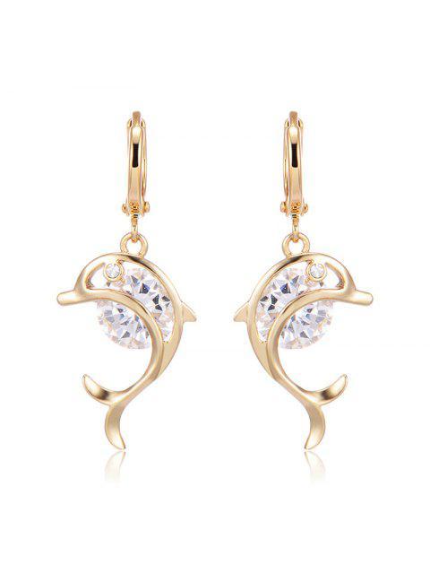 Rhinestone Dolphin Hoop Drop Earrings - Golden  Mobile