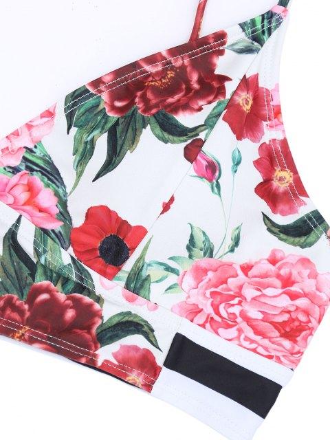 ladies Striped Floral Plus Size High Waisted Bikini Set - COLORMIX XL Mobile