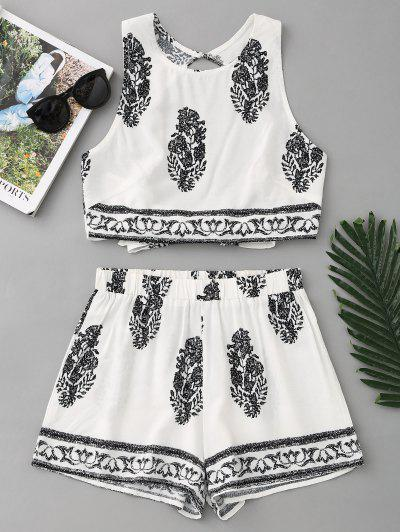 Bow Tied Printed Open Back Top And Shorts Set - White S