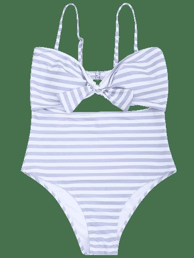 Cutout Striped Plus Size Swimsuit