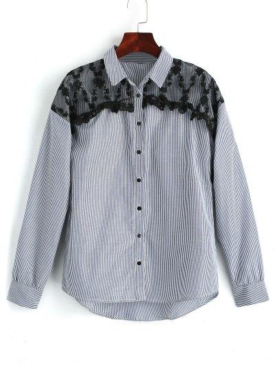Camisa de remiendo del cordón de las rayas