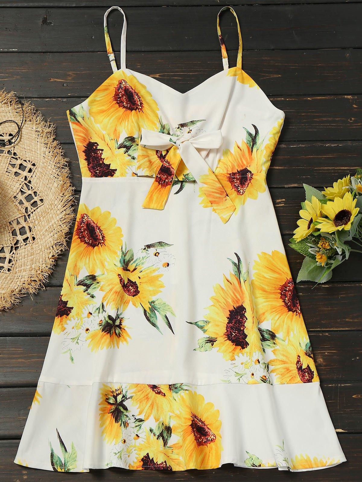 Empire Waist Bowknot Sunflower Cami Dress 245151002