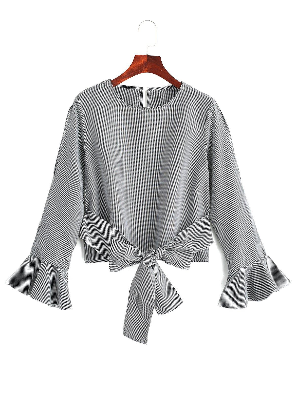 Bell Sleeve Cuff Zurck gebunden gestreifte Bluse