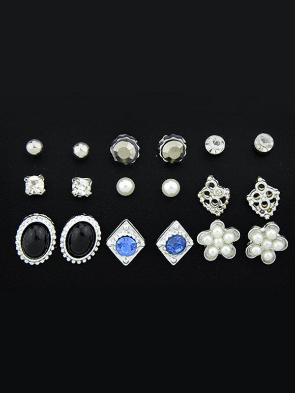Image of Faux Diamond Gemstone Stud Earrings Set