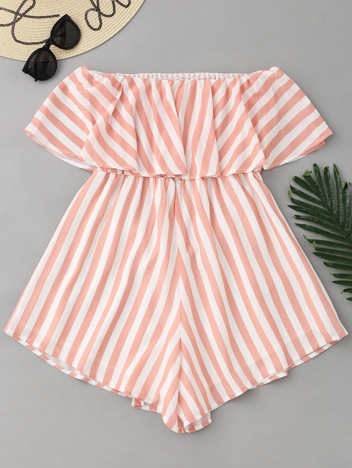 Stripes Ruffle Off Shoulder Romper 245281501