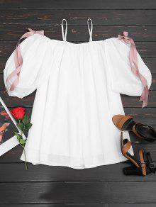 Kaltes Schulter Bowknot Mini Cami Kleid - Weiß L