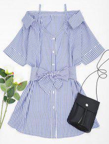 Cold Shoulder Gestreiftes Cami-Kleid Mit Gürtel - Blau L