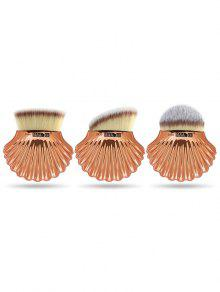 3 قطع قذيفة شكل ألياف الشعر ماكياج الأساس فرشاة مجموعة - رمادي