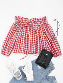Blusa Com Decalque Para As Costas Do Ombro - Vermelho