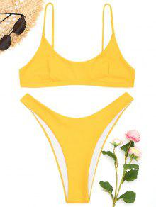 High Cut Bralette Bikini Set - Gelb S
