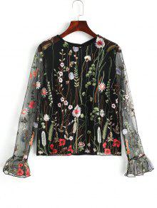 Veja O Top Bordado Floral De Tulle - Preto Xl