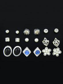 فو الماس الأحجار الكريمة وأقراط مجموعة - فضة