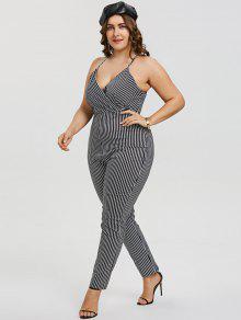 08816643665 Striped Plus Size Surplice Jumpsuit  Striped Plus Size Surplice Jumpsuit ...