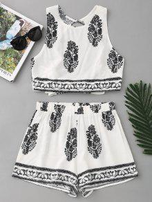 Bow Tied Printed Open Back Top E Shorts Set - Branco L