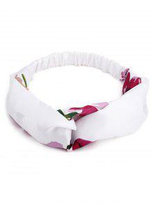 رباط مطاطي للشعر متعدد الاستعمالات مزين بطبعة أزهار - أبيض
