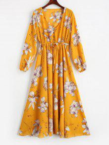 فستان طباعة الأزهار عالية الخصر غارق الرقبة - الأصفر L