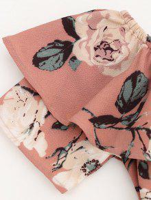 L Mini De Descubiertos Florales Con Hombros Rosado Volantes Vestido q7q1P