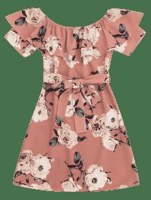 Rosado Florales Vestido Hombros De Volantes Descubiertos L Con Mini q0wxgU1q