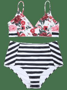 De Conjunto De Talle Alto Xl Bikini Tallas Con Rayas Grandes Florales Y ww1rd7