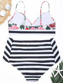 Bikini Rayas Tallas De Xl Grandes Talle Y Con De Conjunto Alto Florales SqY55x