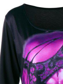 2491c288971 2019 Plus Size Skull Crescent Hem Tunic T-shirt In TUTTI FRUTTI 5XL ...