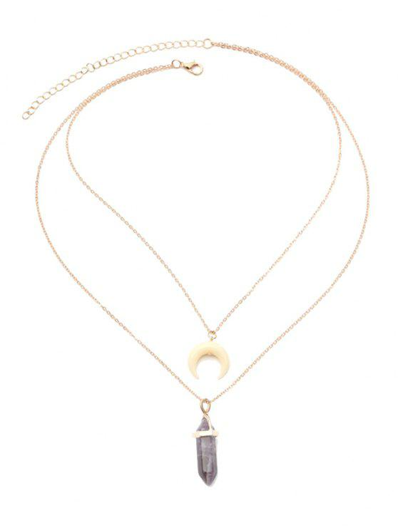 Valentine's Day Layered Faux Crystal Moon Pendant Necklace - Dourado