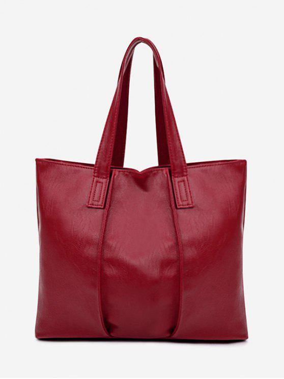 outfit Faux Leather Nude Shoulder Bag - RED