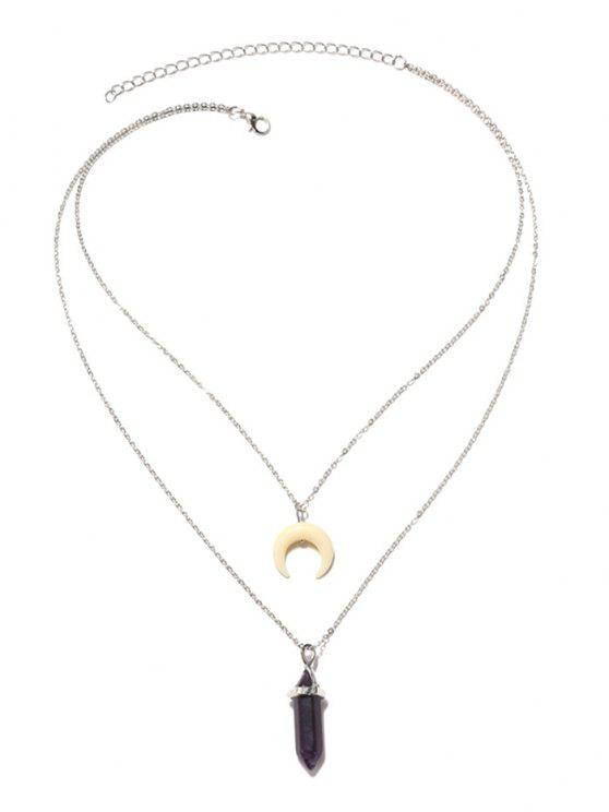 Valentine's Day Layered Faux Crystal Moon Pendant Necklace - Prata