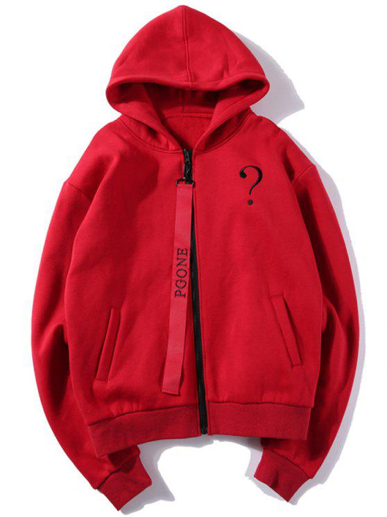 outfit Letter Embroidered Fleece Zip Up Hoodie - RED S