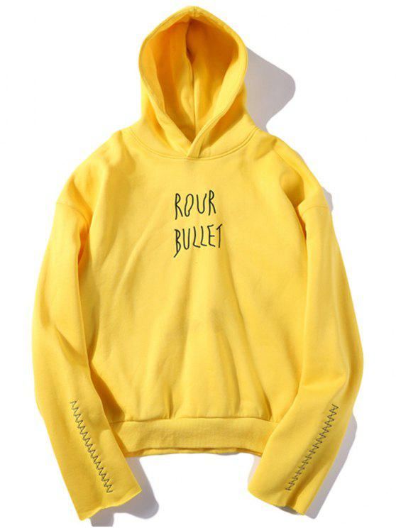 shop Embroidered Fleece Hoodie - YELLOW L
