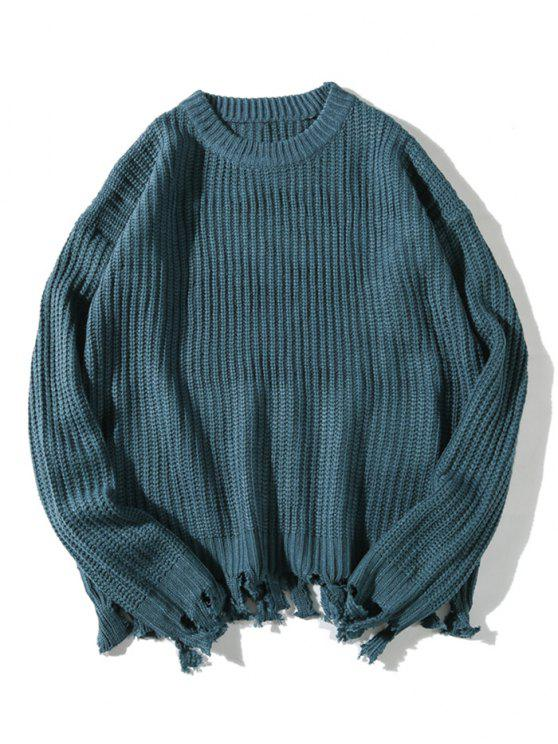 online Distressed Hem Ribbed Texture Sweater - PEACOCK BLUE M