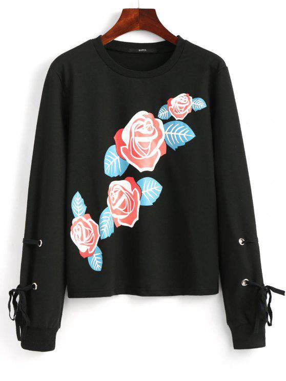 hot Self Tie Sleeve Floral Print Sweatshirt - BLACK S