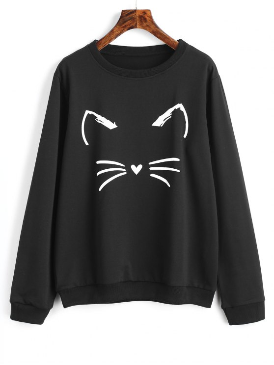 chic Cute Cat Graphic Sweatshirt - BLACK S