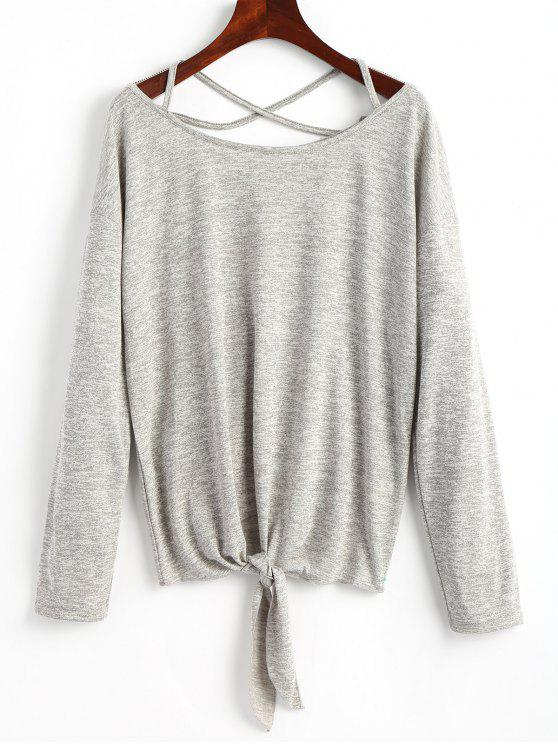 chic Criss Cross Self Tie Hem Knitwear - GRAY ONE SIZE