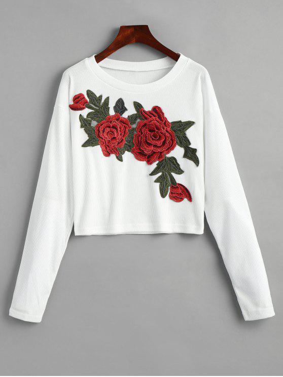 Camisa Barriga de Fora Rugosa com Aplicação Floral - Branco L