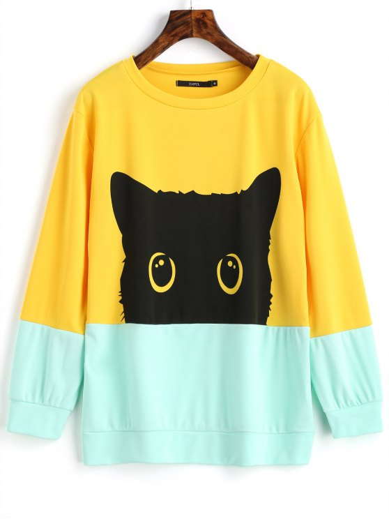 29% OFF  2019 Contrasting Cute Cat Sweatshirt In YELLOW L  db952bc298