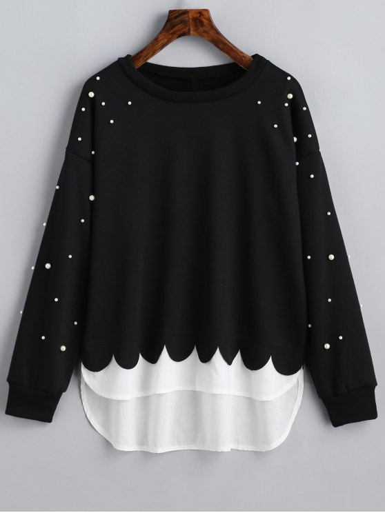 fancy Faux Pearls Panel Scalloped Sweatshirt - BLACK M