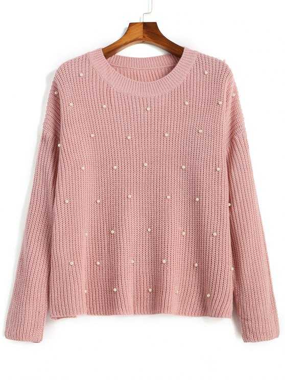 outfits Oversized Faux Pearls Pullover Sweater - PINK ONE SIZE