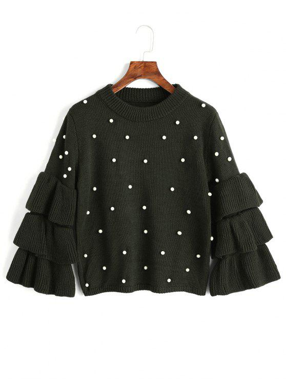 fancy Layered Sleeve Faux Pearls Sweater - ARMY GREEN ONE SIZE