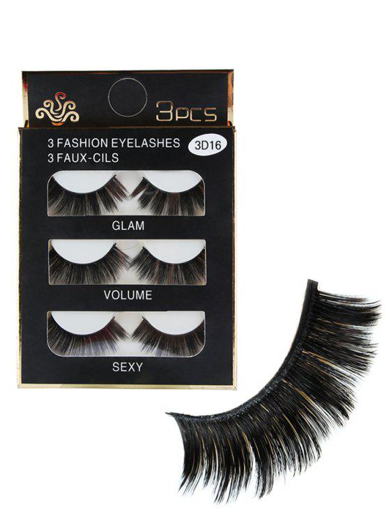 3 Stück Glam Volume Sexy Make-up Faux Wimpern - Schwarz