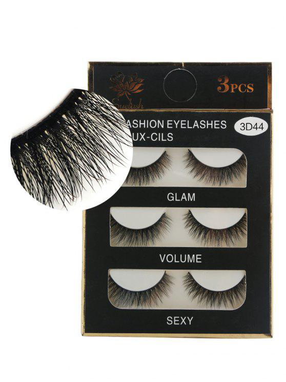 3Pcs Natural Effect Volumizing Makeup Fake Eyelashes - Preto