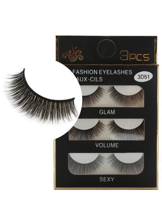women Professional 3Pcs Natural Effect Volumizing Fake Eyelashes - BLACK